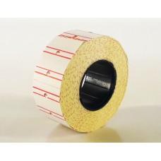 Этикет-лента прямоугольная белая с красной полосой 21.5х12 мм